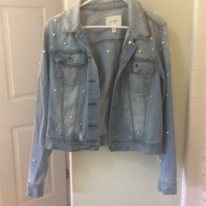 Jessica Simpson denim jacket accented with pearls